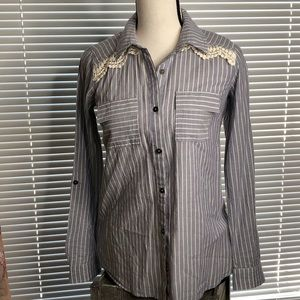 Forever 21 Stripes and Lace ButtonUp Top Size XS